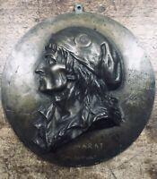 Marat Franc Maçonnerie 1863 Brisson L'ami du Peuple Rare Médaillon Bronze 23 cm