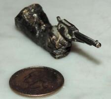 """VINTAGE 1980's DARKENED SOLID BRASS 3""""L CAST LH HAND HELD REVOLVER 6-SHOOTER GUN"""