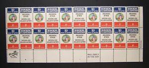 Scott #1422, US Postage strip of 20, 6 cent, Plate/ Zip Block, Disabled Veteran