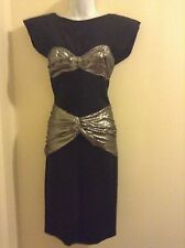 Fantastic n Edgy Vicky Tiel Silver Lame Open Back Vintage Couture Dress M 80's