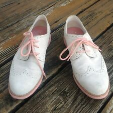 Cole Haan Off White Pink Suede Wingtip Brogue Oxford Shoes Womens 8 Lunargrand