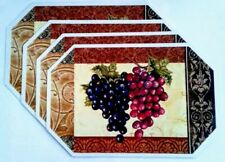 """New listing 4 Pc Grapes Orchard Placemats 17.5"""" x 11"""" Multicolor Kitchen Home Decor 100% Pvc"""