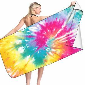 Rainbow Tie Dye Beach Towel Colourful Rainbow Bath Towel Tie Dye Beach Towel