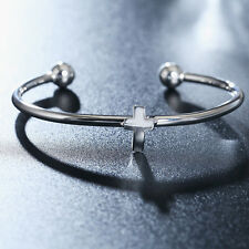 new lady lovely Silver Fashion wedding Woman cute cross Bracelet open bangle