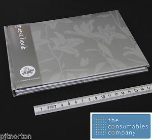 112 Page A5 'Lily Silver' Guest Book Weddings hotels B&B visitors comments NEW