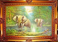 "ELEPHANT WILDLIFE HAND PAINT 24X36"" OIL PAINTING OFFICE HOME DECOR ART GIFT F65"