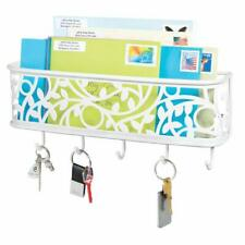 Wall Mount Metal Entryway Storage Organizer Mail Sorter Basket with 5 Hooks
