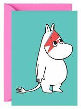 Moomin Troll David Bowie tarjeta de saludos en blanco adentro (Cumpleaños)