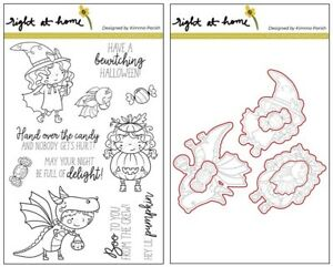 Right at Home BOO CREW Stamp + Die Sets Kids Halloween Costumes Dragon Witch Bat
