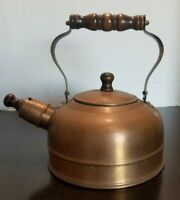 """Vintage Tea Kettle with Wooden handle and Copper Colored Coating 9"""""""