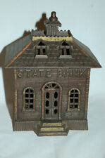 "New ListingCast Iron ""State Bank"" Building Bank 7 1/4"" Tall"