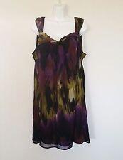 Lane Bryant Dress Size 18 Multi-Color Sleeveless Chiffon Shift Short Dress