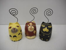 Lot Of 3 Decorative Wooden Painted Kitty Cat Wire Swirl Card Holders