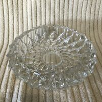 "Vintage Clear Cut Glass Crystal Ashtray 7"" Round Mid Century Heavy Ashtray Cigar"