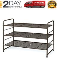 3-Tier Stackable Shoe Rack, Expandable & Adjustable Shoe Shelf Storage Organizer