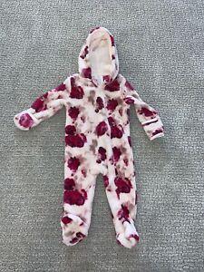 Laura Ashley Baby Girls Pink Rose Hooded Fleece Bodysuit/Sleeper, 6-9 Months