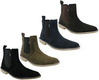 Lambretta Chelsea Boots Desert Ankle Suede Leather Dealer MOD Pull On Mens