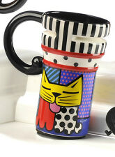 ROMERO BRITTO YELLOW CAT TRAVEL MUG  ** NEW **