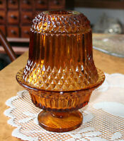 "Vintage Indiana Glass 6.5"" Amber Fairy Lamp 2 Piece Votive Candle Holder"