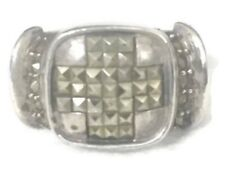 Vintage Greek Cross Wide Marcasite Sterling Silver Ring Thumb Band BoHo Size 7.2