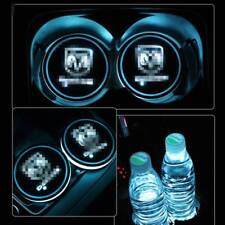 2PCS Car Cup Holder 7-Color Led Light Pad Mat Interior Atmosphere for Dodge Logo