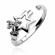 Toe Ring Open Star Cubic Zircon Sterling Silver Stamped Quality Usa Adjustable