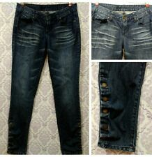 Guess Womens Skinny Jeans Size 29 Whiskering Snap Button Leg Detail Low Rise