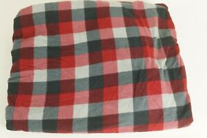 WOOLRICH TWIN FLANNEL FITTED SHEET RED GREY PLAID