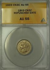 1869 3c Three Cent Nickel CN3C Coin ANACS AU-55 Repunched Date