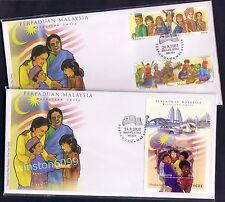 2002 Malaysia Malaysian Unity, 3v Stamps + Miniature Sheet MS on 2 FDC (Lot A)