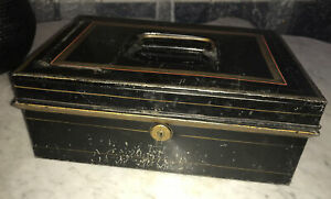 Vintage black  Gold Stripped metal lock box Sturdy Strong Tin Storage Container