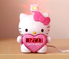 NEW LED Hello Kitty Projection Alarm Clock Radio Digital Tuning+Battery Back up