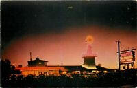 Old Chrome Postcard CA K347 Motel El Rancho Fresno Neon Signs Night 1940s cars