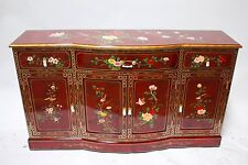 "oriental furniture Cupboards 48"" Chinese credenza burgundy red lacquer cabinet,"