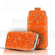 DIAMOND BLING LEATHER PULL TAB SKIN CASE POUCH SLEEVE FOR VARIOUS MOBILES/PHONES