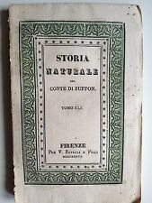 "LIBRO ANTICO BROSSURE DECORATA ACQUERELLATA ""STORIA NATURALE"" 1837"