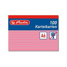 100 Karteikarte Karteikarten A6 liniert rot Herlitz