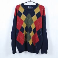 MURREY Mens Multi Argyle V Neck 100% Pure New Wool Sweater Jumper SIZE Medium, M