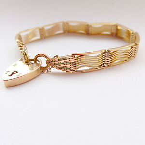 Art Deco 9ct Gold Gate Bracelet Heart Padlock Heavy C.1930's