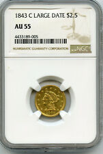 1843-C Large Date $2.5 Gold Coin NGC AU 55