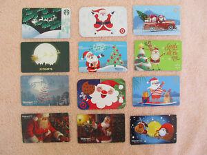 12 Santa Claus Gift Cards Walmart Starbucks Kohl's  Collectible Lot 0 Value