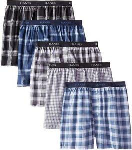 "Hanes® Men's ULTIMATE Men's 5-Pack Yarn Dye Exposed Waistband Boxer   ""TAGLESS"""