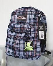 "NEW Jansport Trans School Backpack Blue Red Plaid Supermax 15"" Laptop Sleeve"