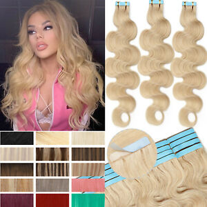 Invisible Tape in Skin Weft 100% Remy Human Hair Extensions THICK Full Head Long