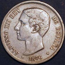 Spain. 5 Pesetas 1876 DE M . Alfons XIII King. Silver Coin.
