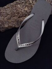 Havaianas Slim Silver Gray Wedding Flip Flops w/ Swarovski Crystal Bling Shoes