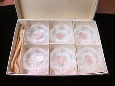 Vintage Czech Bohemia Glass Set 6 Salt Cellars & 5 Glass Spoons W/ Original Box
