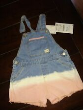Zara Baby Girl Blue Denim Jean Overall Shorts Tie-dye 2 To 3 Years New