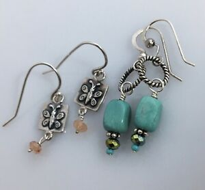 Two (2) Pairs 925 STERLING SILVER Dangle Earrings Rutilated Quartz Turquoise
