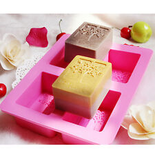 Silicone 4-Cavity Rectangle Soap Cake ice Mold Mould Tray For Homemade Craft DIY